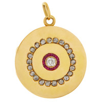 Vintage Diamond and Ruby Circle Picture Locket 18K Gold Charm