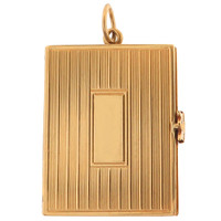 Vintage Vertical Engine Turned Book Locket 14K Gold Charm