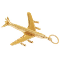 Boeing 707 Airplane 14K Gold Charm