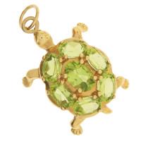 Vintage Peridot Turtle 14K Gold Charm