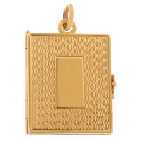 Vintage Wave Design Book Locket 14K Gold Charm