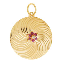 Vintage Engravable Gem-Set Disc 14K Gold Charm