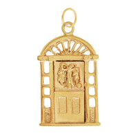 Vintage Movable Christmas Door 14K Gold Charm