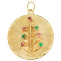 Vintage Engravable Gem-Set Christmas Tree Disc 14K Gold Charm