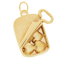 Vintage Dankner Sardine Hearts 14K Gold Charm