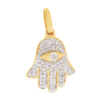 Diamond Hamsa with Evil Eye 14K Gold Charm