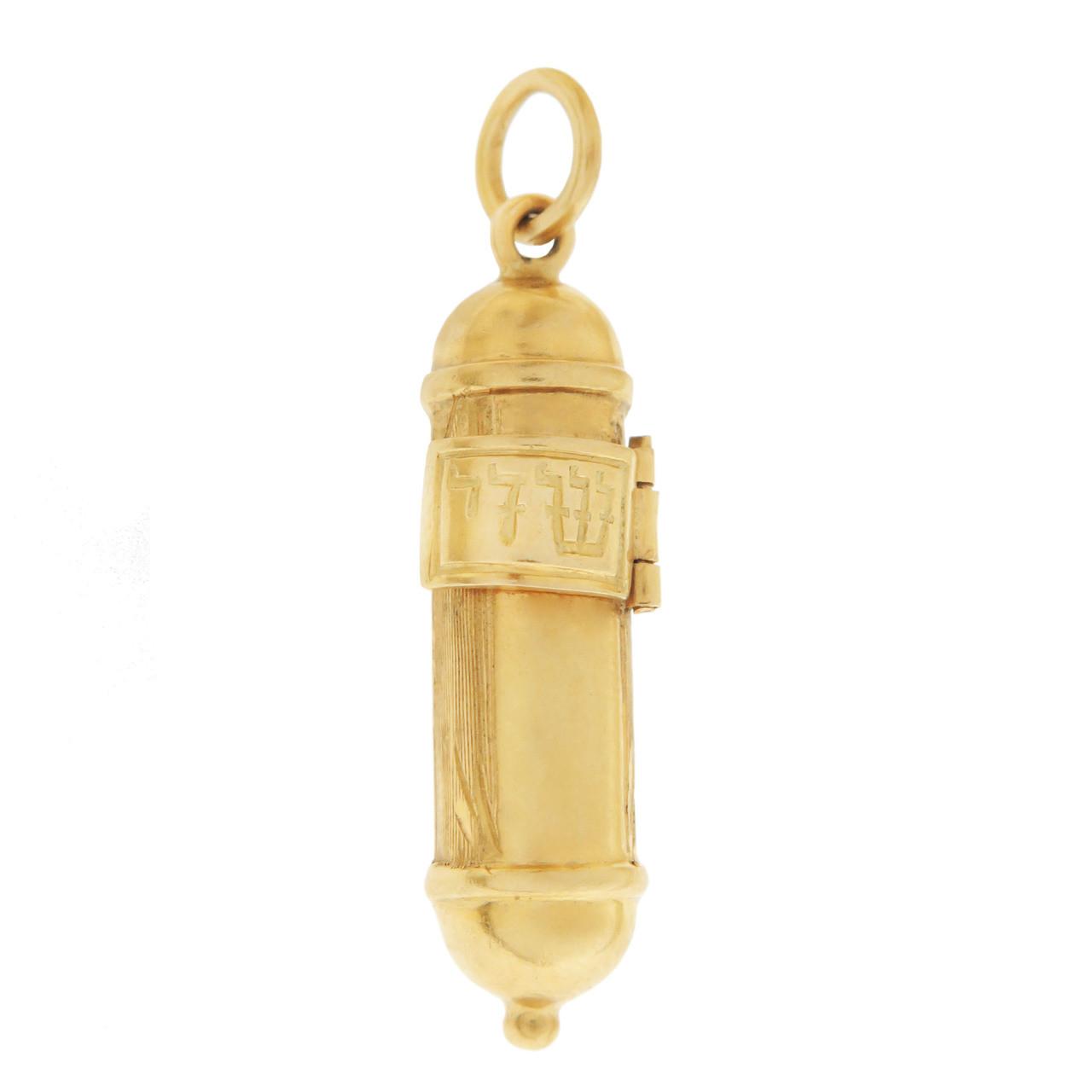 Vintage Movable Mezzuzah 18k Gold Charm