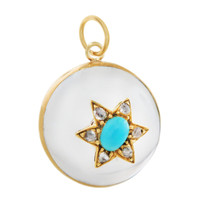Vintage Rock Crystal Objet with Turquoise and Diamonds 9K Gold Charm