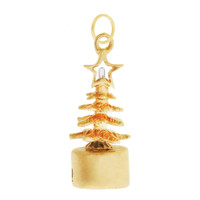 Vintage Christmas Tree with Star Topper 14K Gold Charm