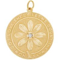Vintage Love Poem Daisy Disc with Diamond 14K Gold Charm