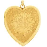 Vintage Oversized Heart Locket 14K Gold Charm