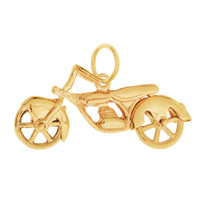 Vintage Motorcycle 14K Gold Movable Charm