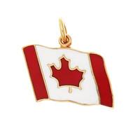 Vintage Enamel Canadian Flag 10K Gold Charm