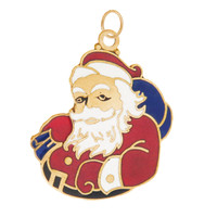 Vintage Engravable Enamel Santa Claus 14K Gold Charm