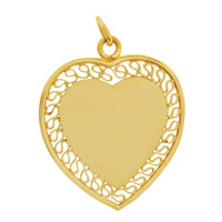 Vintage Engravable Heart with Lace Borders 14K Gold Charm
