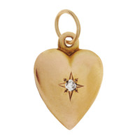 Vintage 'Taken' Heart with Diamond 14K Gold Charm