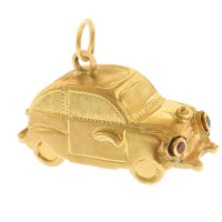 Vintage Movable Buggy with Ruby Headlights 18K Gold Charm