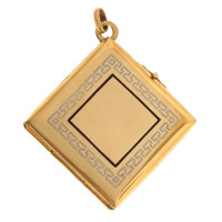 Vintage Square Enamel Photo Locket 14K Gold Charm