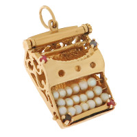Vintage Movable 'I Love You' Typewriter 14K Gold Charm