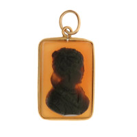 Vintage Onyx and Agate Cameo 14K Gold Charm
