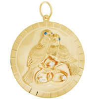 Vintage Diamond and Sapphire Lovebirds Disc 14K Gold Charm
