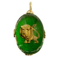 "Vintage ""Leo"" Reverse Intaglio 14k Gold Zodiac Charm"