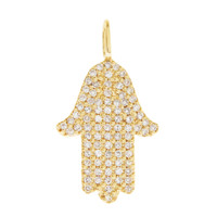 Pavé-Set Diamond Hamsa 14K Gold Charm