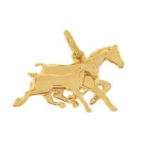 Racing Horses 14K Gold Charm
