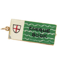 Vintage Movable Enamel British Cheque Book 9K Gold Charm