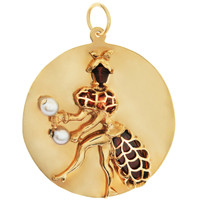 Vintage Gem-Set Carnival Dancing Woman Disc 14K Gold Charm