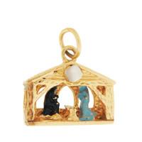 Vintage Enamel Nativity Scene Stanhope 14K Gold Charm