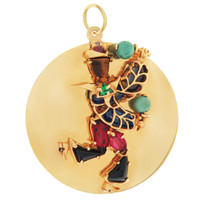Vintage Gem-Set Carnival Dancing Man Disc 14K Gold Charm