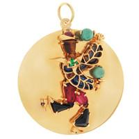 Vintage Gem-Set Carnival Dancer Disc 14K Gold Charm