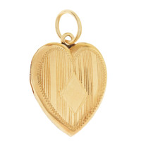 Vintage Pinstripe Heart Locket 14K Gold Charm