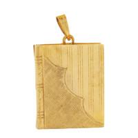 Vintage Engravable Book Locket 14K Gold Charm