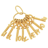 Vintage Movable Love Keys 9K Gold Charm