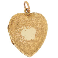 Vintage Scrollwork Puffy Heart Locket 15K Gold Charm