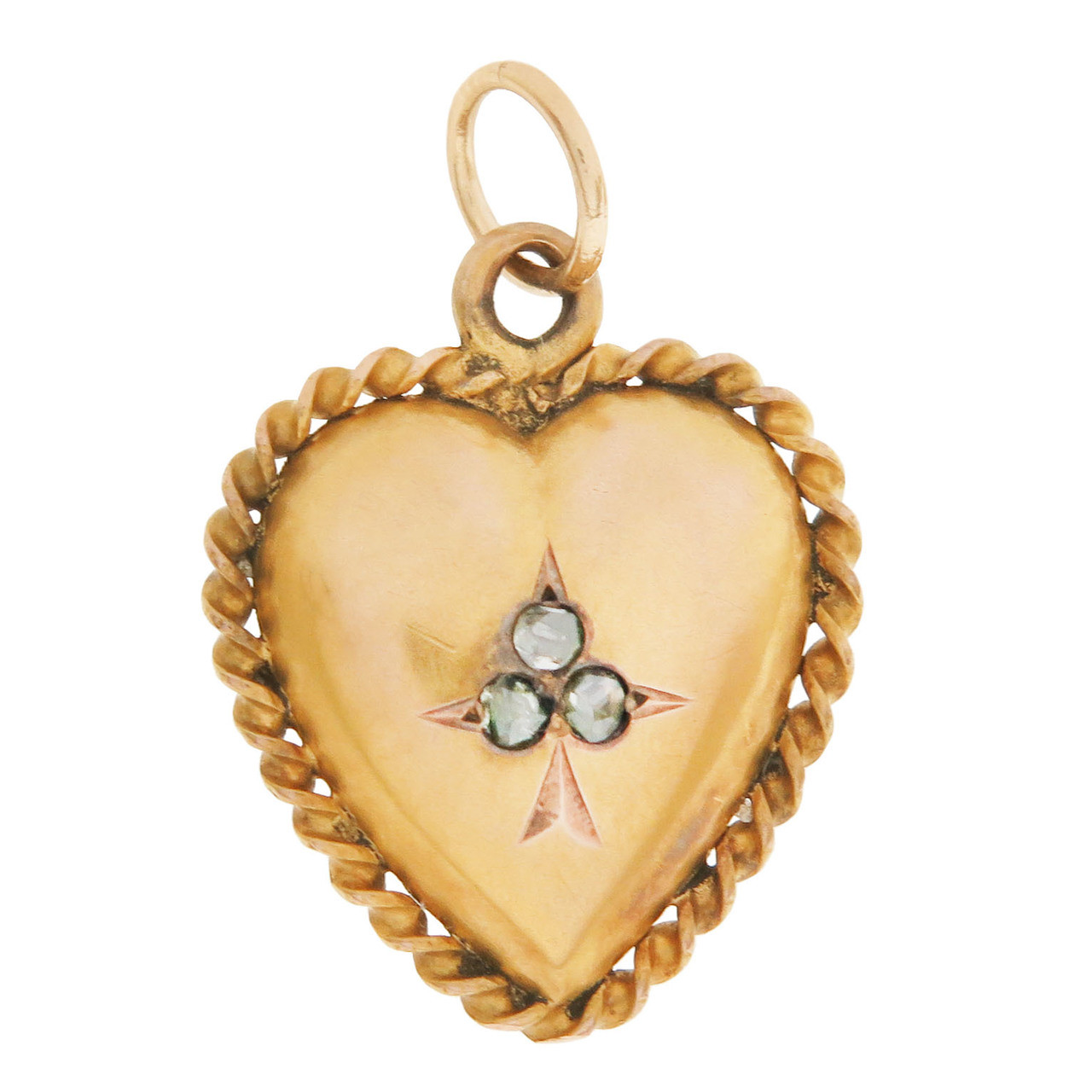 Vintage Victorian Heart with 3 Diamond Center 14K Gold Charm