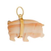 Vintage Coral Pig 14K Gold Charm