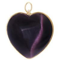 Vintage Purple Cat's Eye Heart 14K Gold Charm