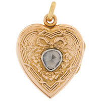 Vintage Rose-Cut Diamond Heart Locket 18K Gold Charm
