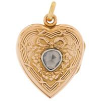 Vintage Rose-Cut Diamond Heart Locket 18K Gold Charm