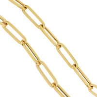 """Sydney"" Long Oval Link 14K Gold Charm Necklace"