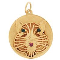 Vintage Gem-Set Cat Disc 14K Gold Charm