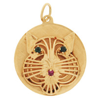 Vintage Gem-Set Cat Disc 14K Gold Charm
