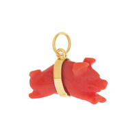 Vintage Coral Leaping Pig 14K Gold Charm