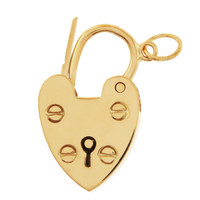 Vintage Movable Heart Lock 9K Gold Charm