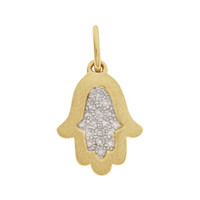 Framed Diamond Hamsa 14K Gold Charm