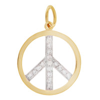 Two-Tone Diamond Peace Sign 14K Gold Charm
