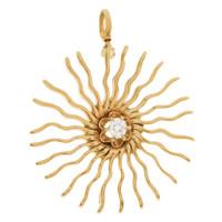 Vintage Starburst with Diamond Center 14K Gold Charm
